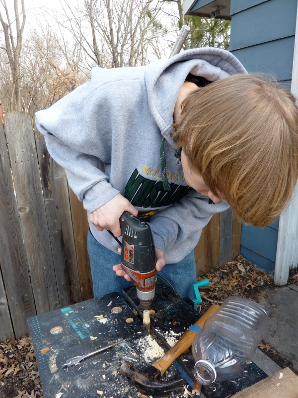Making taps for maple syrup season.